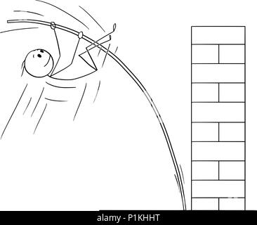 Cartoon of Man or Businessman Doing Pole Vaulting to Overcome Obstacle - Stock Photo
