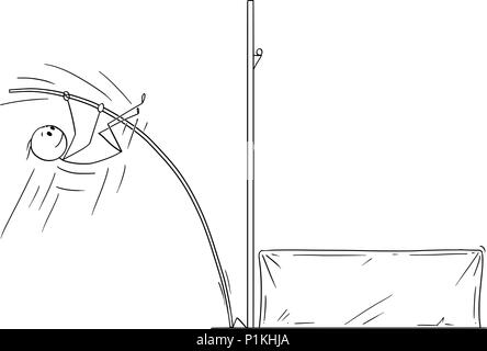 Cartoon of Athlete Doing Pole Vaulting - Stock Photo