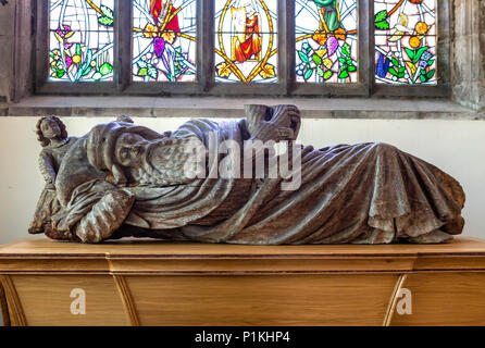 The Jesse, a 15th century wooden carving which once formed part of a 'Jesse Tree' showing the lineage of Christ from Jesse,  the father of David, Priory Church of St Mary, Abergavenny, Monmouthshire, Wales, UK. - Stock Photo