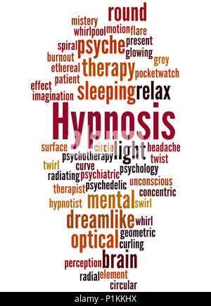 Hypnosis, word cloud concept on white background. - Stock Photo
