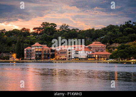 Sunset over the Old Swan Brewery on the Swan River, Perth, Western Australia, Australia - Stock Photo
