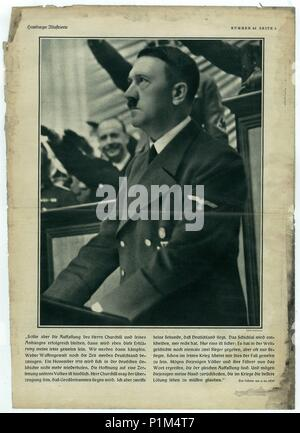 HAMBURG, GERMANY - 1939: Reproduction of magazine page shows Adolf Hitler  Picture from Nazi Germany. - Stock Photo
