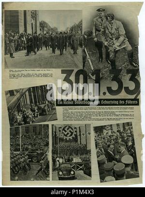 BERLIN, GERMANY - APRIL 16, 1939: Reproduction of magazine page shows Adolf Hitler a other pictures from Nazi Germany. - Stock Photo