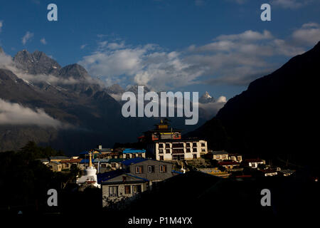 Tengboche village in Khumjung in the Khumbu region of northeastern Nepal, located at 3,867 metres .it s an important Buddhist monastery, Tengboches - Stock Photo