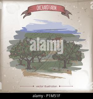 Farmhouse and orchard color vector sketch. - Stock Photo