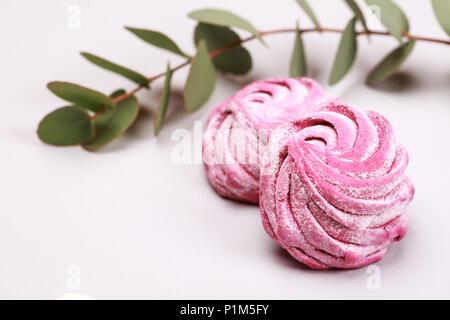 Two pink marshmallow - Stock Photo