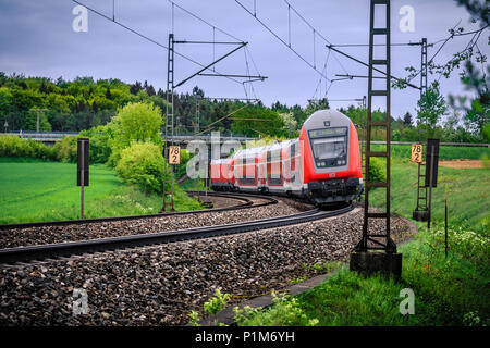 Westerstetten, Germany - May 1, 2018: High speed train of Deutsche Bahn AG, a german railway company.