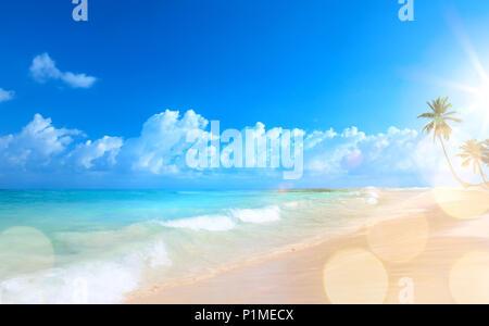 Art Beautiful sunset over the tropical beach - Stock Photo