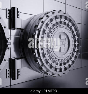 3d rendering of opened view bank vault door. Safety and secure business concept - Stock Photo