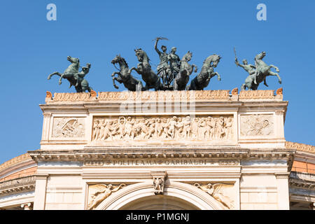 Italy Sicily Palermo Piazza Ruggero Settimo semi circular Teatro Politeama Garibaldi neo-classical built 1867 - 74 facade triumphal arch sculptures - Stock Photo