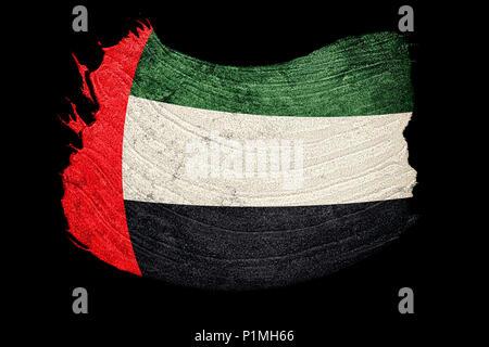 Grunge UAE flag. United Arab Emirates flag with grunge texture. Brush stroke. - Stock Photo
