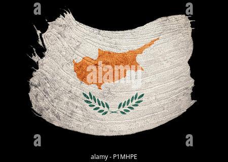 Grunge Cyprus flag. Cyprus flag with grunge texture. Brush stroke. - Stock Photo