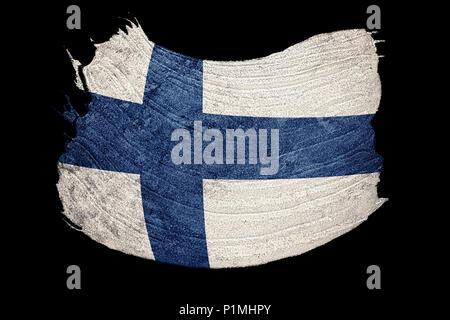 Grunge Finland flag. Finland flag with grunge texture. Brush stroke. - Stock Photo