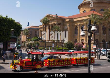 Sicily Palermo Piazza Giuseppe Verdi Teatro Massimo built 1897 largest opera house Italy architect Giovanni Battista Filippo Basile street scene - Stock Photo