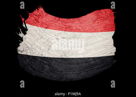 Grunge Yemen flag. Yemen flag with grunge texture.Brush stroke. - Stock Photo