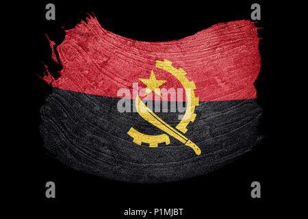 Grunge Angola flag. Angola flag with grunge texture. Brush stroke. - Stock Photo