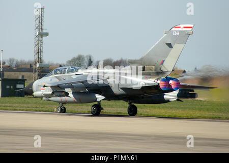 Panavia Tornado GR4 taking off on full re-heat - Stock Photo