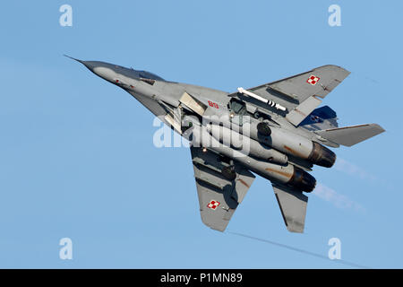 Polish Air Force Mikoyan Gurevich Mig 29A Fulcrum, full afterburners launch at Mińsk Mazowiecki near Warsaw - Stock Photo