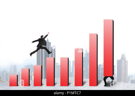 Businessman running and jumping on red bar chart another lift one with city background - Stock Photo