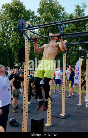 under the brand name 'games for heroes' - the stage of the sports crossfit of all Ukrainian competitions for veterans of the war in Kharkov on June 9, - Stock Photo