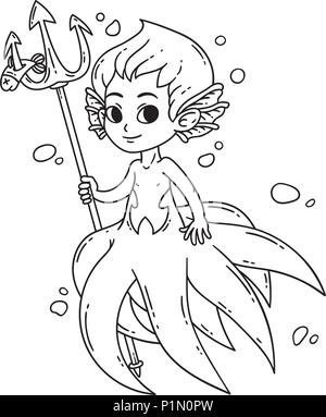Male mermaid. Triton. Octopus man. Vector illustration isolated on white background. Coloring page for children. - Stock Photo