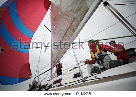 Sailing team adjusting sail on sailboat - Stock Photo