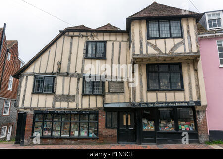 The Fifteenth Century Bookshop, on the corner of High Street and Keere Street, Lewes, East Sussex, England, UK - Stock Photo