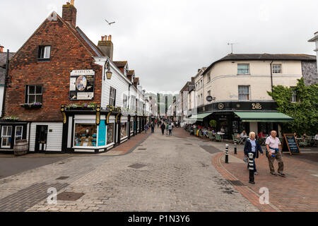 Cliffe High Street, a lovely shopping and browsing street, Lewes, East Sussex, England, UK - Stock Photo
