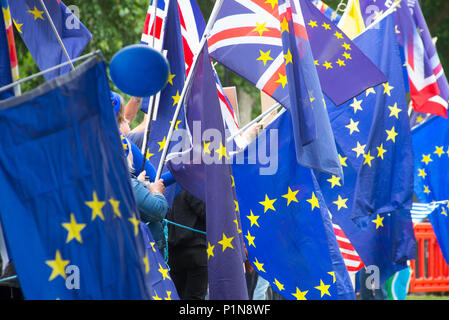 London, UK. 12th June 2018. 12 June 2018 - London: Flag waving demonstrators from SODEM (Stand of Defiance, European Movement) out side Parliament and college green. Credit: Bruce Tanner/Alamy Live News - Stock Photo