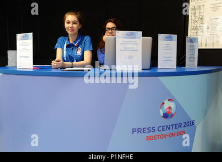 Rostov On Don, Russia. 13th June, 2018. ROSTOV-ON-DON, RUSSIA - JUNE 13, 2018: A reception desk at the 2018 FIFA World Cup press office. Maxim Romanov/TASS Credit: ITAR-TASS News Agency/Alamy Live News - Stock Photo