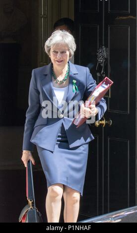 London, UK. 13th June 2018. Theresa May departs number 10 Downing Street  for the House of Commons to answer Prime Ministers Questions (PMQs) Credit: Andy Morton/Alamy Live News - Stock Photo