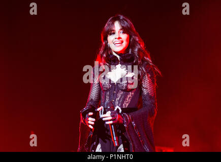 London, UK. 12th June 2018. Camila Cabello performing at the 02 Academy Brixton in London on the 12th June 2018 Credit: Tom Rose/Alamy Live News - Stock Photo
