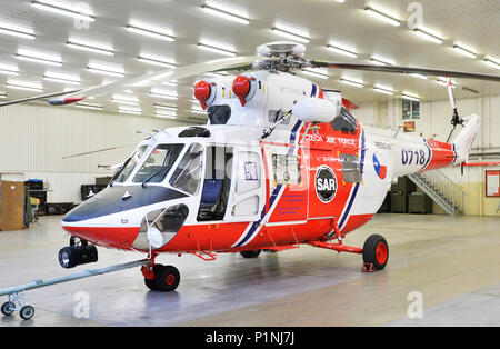 Pilsen, Czech Republic. 13th June, 2018. The first Sokol army helicopter (W-3A Sokol, 0718) with 5000 flight hours in the world belongs to air rescue service with airbase in Line village, near Pilsen, Czech Republic. On the photo is seen the helicopter in a hangar on June 13, 2018. Credit: Miroslav Chaloupka/CTK Photo/Alamy Live News - Stock Photo
