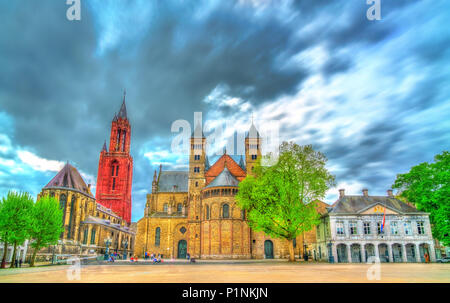 Saint Servatius Basilica and St. John Church on Vrijthof Square in Maastricht, the Netherlands - Stock Photo