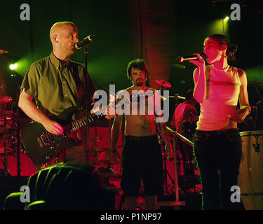 ATLANTA, GA - July 10: Moby and Nelly Furtado rehearse the song 'South Side' (as a crew member looks on) the night before the opening date of the AREA : ONE Festival at Lakewood Amphitheatre in Atlanta, Georgia on July 10, 2001. CREDIT: Chris McKay / MediaPunch - Stock Photo