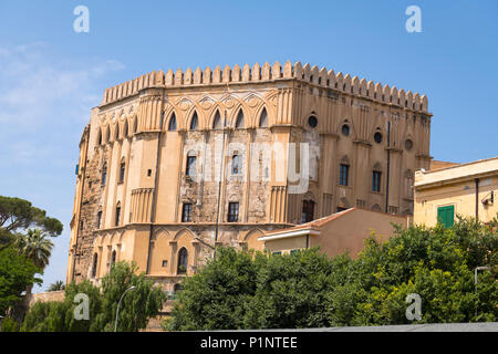 Italy Sicily Palermo 11th century The Palazzo dei Normandi built by Arabs over Punic Fort Fortress now seat of Sicilian Regional Assembly blue sky - Stock Photo