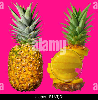 Whole pineapple next to a peeled, sliced and reassembled one. Isolated on funky pink-magenta. Looking glass magnifying ring structure. - Stock Photo