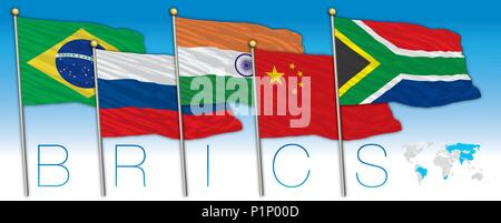 BRICS coutries flags and map, vector illustration - Stock Photo