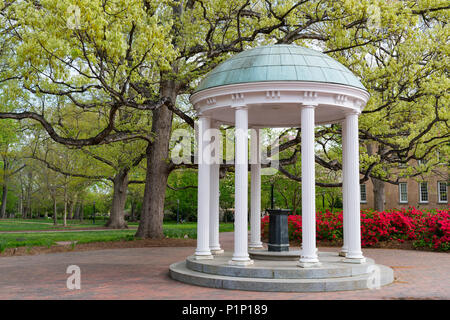 Flowers Bloom in Spring at the Old Well Rotunda at University of North Carolina in Chapel Hill - Stock Photo