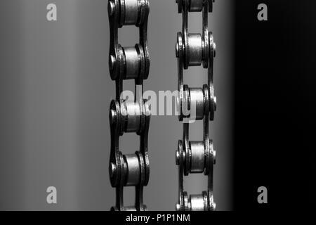 metal Bicycle chain on dark background, closeup - Stock Photo