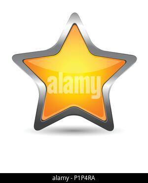 Glass yellow star icon - Stock Photo
