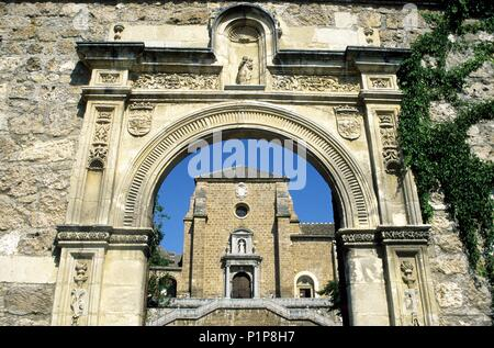 Monasterio de la / Cartuja monastery, Gate and church façade. - Stock Photo