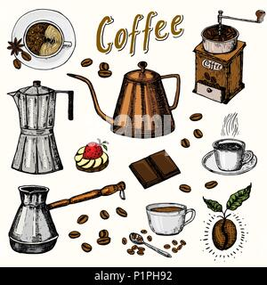 Traditional Filter Coffee Maker. Modern vintage elements, percolator, plants, grain and kettle for the shop menu. Vector illustration. engraved hand drawn in old sketch for card, badges, labels. - Stock Photo