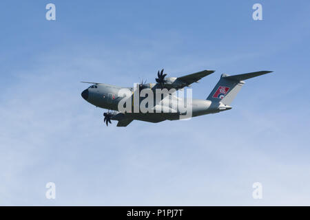 Airbus A400M Atlas military transport aircraft of the Royal Air Force. Designed by Airbus Defence and Space - Stock Photo