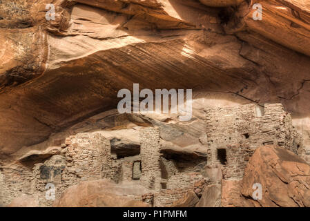 River House Ruin, Ancestral Puebloan Cliff Dwelling, 900-1300 AD, Shash Jaa National Monument; Utah, United States of America - Stock Photo