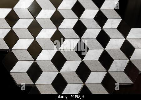 3d Illusion Marble Stone Cube Tiles Geometric Floor - Stock Photo
