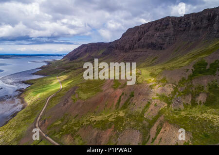 The road winding around Snaefellsness Peninsula; Iceland - Stock Photo