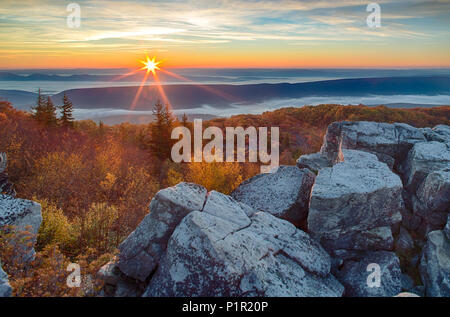 Sunrise on Dolly Sods over the Mountains of West Virginia - Stock Photo