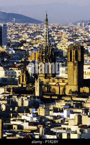 'aerial view' from the city; gothic quarter and Cathedral. - Stock Photo