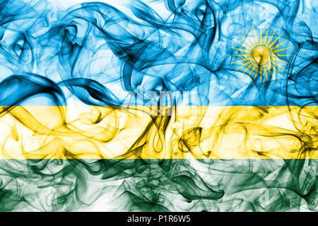 Rwanda smoke flag - Stock Photo